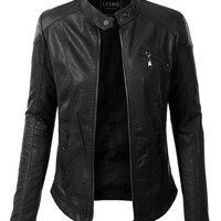 LE3NO Womens PU Faux Leather Zip Up Biker Moto Jacket with Pockets