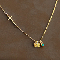 gold cross initial necklace, sidewaysnecklace, May BirthStone Necklace, Birthday, bridesmaid gifts, Gift for her, personalized necklace
