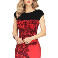 Red Leaf Print Cap Sleeve Midi Bodycon Dress