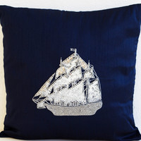 Navy blue decorative throw pillow covers- Nautical pillow with exquisitely embroidered ship in silver sequins- Silver pillow-16X16