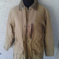 Barn coat -jacket -tan brown  Cabelas small cotton polyester warm rugged quality zipper front drawstring waist large pockets  80s vintage