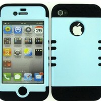 BUMPER CASE FOR IPHONE 4 SOFT BLACK SKIN HARD BABY BLUE COVER