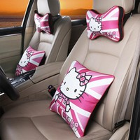 Cartoon Car Headrest Neck Pillow Sets Hello Kitty KT Accessories Waist Support Lumbar Cushion Auto Seat Head Rest Pillows