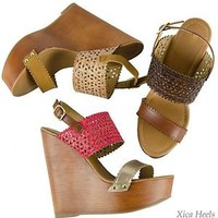 Women's Sandals Ankle Strap Wedges Open Toe Perforated Sandal High Heel Shoe New