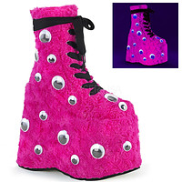 "Slay 206 Hot Pink Furry Monster 7"" Platform Ankle Boots 6-14"
