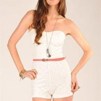 White Jump Suits/Rompers - White Sleeveless Romper with Attached | UsTrendy