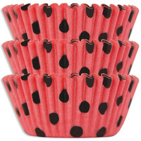 Coral & Black Polka Dot Baking Cups