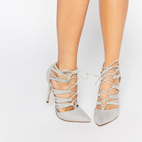 New Look Lace Up Cut Out Heeled Court Shoe at asos.com