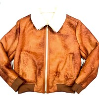 Jakewood Whiskey Shearling Bomber Jacket