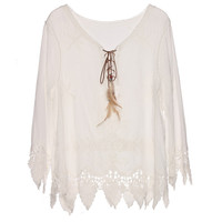 Gypsy Feather Duster Tops Hippie Boho People Style Blusa With Retro Embroidery Fishtail Lace Patch Design Tops Tee t shirt women