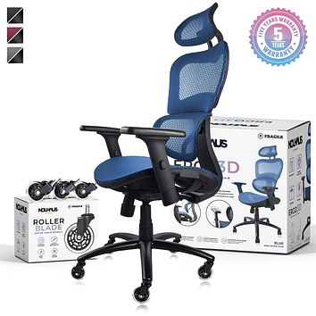 NOUHAUS Ergo3D Ergonomic Office Chair - Rolling Desk Chair with 3D Adjustable Armrest, 3D Lumbar Support and Extra Blade Wheels - Mesh Computer Chair, Gaming Chairs, Executive Swivel Chair (Blue) Blue
