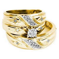10kt Yellow Gold His & Hers Round Diamond Christian Cross Matching Bridal Wedding Ring Band Set 1/6 Cttw 17574