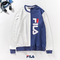 FILA autumn new men and women couple color matching long-sleeved round neck sweater