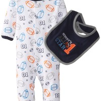 Bon Bebe Baby-Boys' Newborn Two-Piece Mommy's All Star Footed Coverall and Bib Set