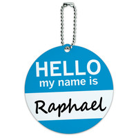 Raphael Hello My Name Is Round ID Card Luggage Tag
