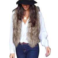 Winter Women Faux Fur Waistcoat Gilet Jacket Coat Sleeveless Outwear Short Vest Hot!