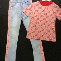 GUCCI Fashion Women Short sleeve T-shirt Jeans Pants Casual Set Two-Piece Pink G