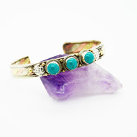 NEPALESE ➳ 3 METAL TURQUOISE CUFF