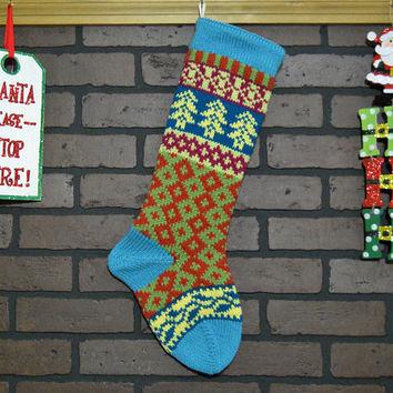 Christmas Stocking Hand Knit in Aqua, Fair Isle Knit Stocking with Yellow Trees and Teal Ivy, Can be Personalized, Housewarming Gift Idea