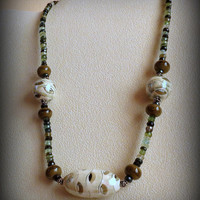 Jewelry, Handmade Necklace, Porcelain Beads, Tourmaline, Sterling Silver, Statteam