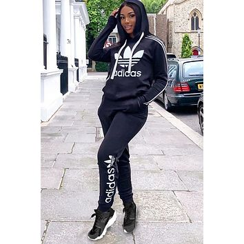 Adidas Women Casual Print Hoodie Top Sweater Pants Trousers Set Two-piece High quality Sportswear