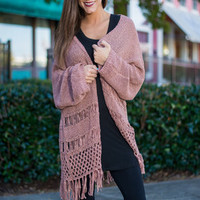 On A Fringe Binge Cardigan, Mauve