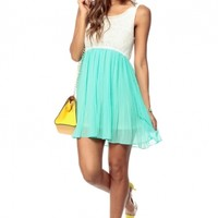 Heaven Mint Pleated Woven Dress @ Cicihot sexy dresses,sexy dress,prom dress,summer dress,spring dress,prom gowns,teens dresses,sexy party wear,ball dresses