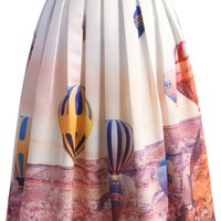 Hot Air Balloon Festival Print Midi Skirt