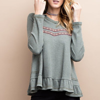 Embroidered Thermal Hoodie Top