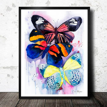Butterflies watercolor painting print, animal, illustration, animal watercolor, animals paintings, animals, portrait, Butterfly