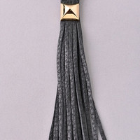 Faux Leather Tassel Long Necklace - Black, Ivory or Gray