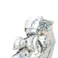Privileged Amore Silver Bow Wedge Sneakers-MakeMeChic.com