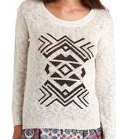 Rhinestone Aztec Graphic Sweater by Charlotte Russe - Ivory Combo