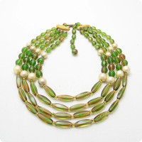 Green Glass Bib Necklace Multistrand Alice Caviness Jewelry N6716