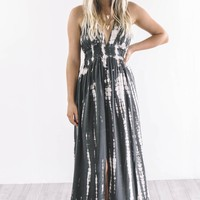 SZ LARGE Never Gets Old Tie Dye Charcoal Maxi Dress
