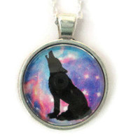 howling wolf galaxy pendant necklace,astronomy necklace,galaxy pendant,wolf gifts,wolf necklace,wolf pendant,art gifts for her,space jewelry