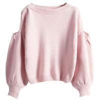 Solid Knit Cutout Shoulder Pullover Sweater
