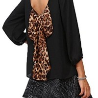 Details About Women Sexy Cut Out Back Evening Chiffon Top T-shirt Blouse with Leopard Bow Tie (Us8=xxl, Black)