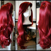 MERMAID/VIXEN WIG, Red Wig with Thick Swoop Bangs and Beautiful Full Waves: One of a Kind High Quality Wig designed by Traci Hines