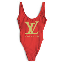 LV SWIMMER SWIM TAN TOP VEST SHIRT V NECK WOMEN LETTERS BOTTOMING CLOTHES
