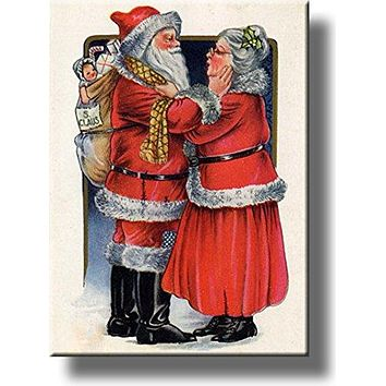 Santa Claus Going to Work Picture on Stretched Canvas, Wall Art Décor, Ready to Hang!