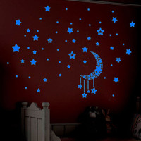 A Set Kids Bedroom Decoration Fluorescent Glow In The Dark Stars Wall Stickers Happy Gifts High Quality