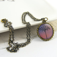 Dandelion Necklace - Pink Purple Nature Pendant Jewelry