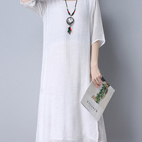 Vintage Pure Patchwork Fake Two Pieces Half Sleeve Women Dresses