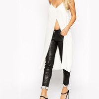 White Longline Cami Top with Front Split