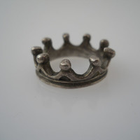 Sterling Silver 925 Crown Ring Size 6 Unmarked