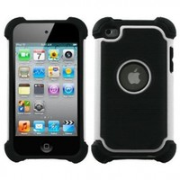Snap-on Protector Hybrid Hard/gel Case for Apple Ipod Touch 4th Generation / 4th Gen - White/black