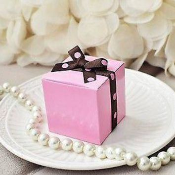 """10 Pink Party Favor Boxes with Polka Dot Ribbon  2"""" Wedding Baby Shower"""