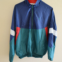Red Blue Green White Windbreaker Jacket Oversized Vintage 90s XL