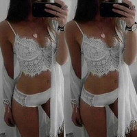 Hollow Out Lace Bikini Set Bandage Push Up Padded White